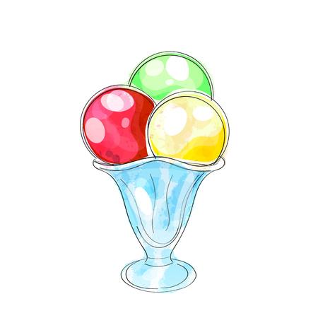 Cartoon cute ice cream watercolor vector illustration Stock Illustratie