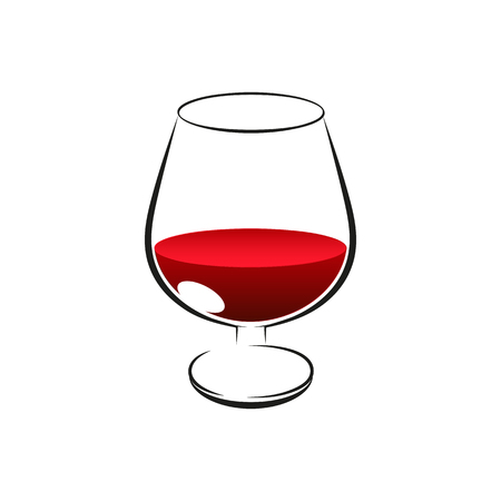 Red wine in glass on white background Illustration
