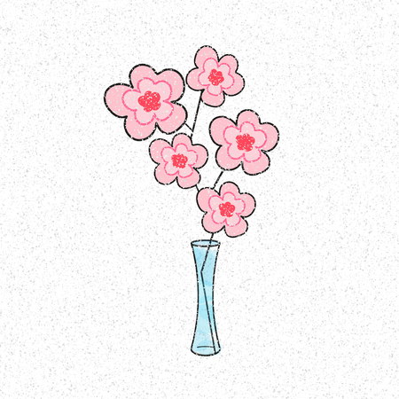 Flowers illustration on white background in vase Illustration