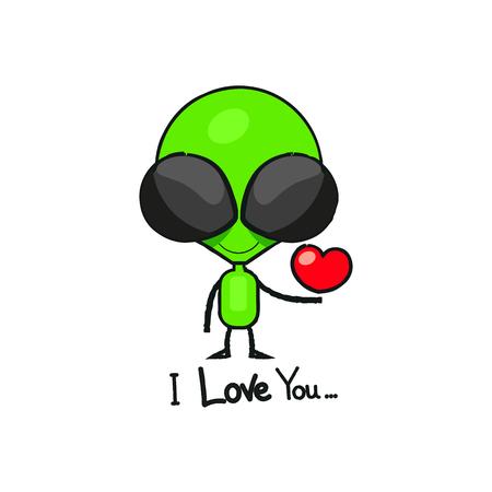 Dessin d'alien dessin animé mignon. Petit humanoïde agitant vert en combinaison spatiale, illustration vectorielle isolé.
