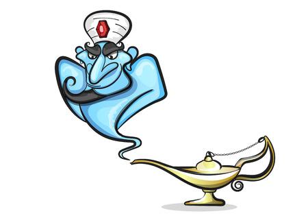 ジン付きランプアラジン、アラジンの魔法のランプ  イラスト・ベクター素材