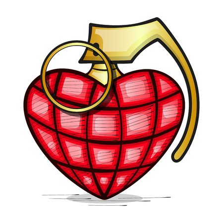 Heart Grenade Art vector art. Grunge illustration of heart shape with hand grenade elements. Happy valentines day. Vettoriali