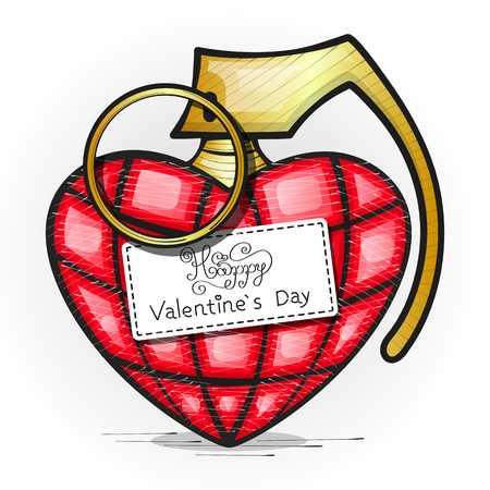 Heart Grenade Art vector art. Grunge illustration of heart shape with hand grenade elements. Happy valentines day. Illustration