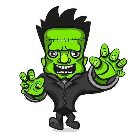 Cartoon monster zombie Character vector halloween illustration Vectores