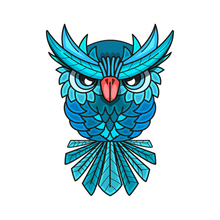 A decorative owl with big eyes and blue feathers Illustration