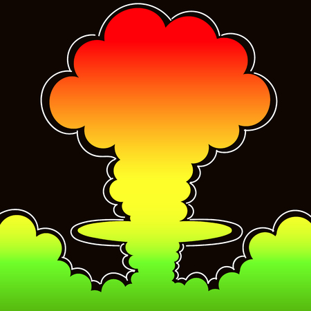 Cartoon comic style nuclear mushroom cloud illustration. Atomic explosion vector clip art.