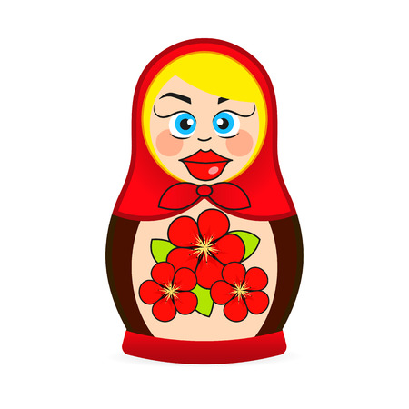 Matryoshka doll dressed in a sarafan with flower ornament in vector, Russian folk handicraft nested doll, Babushka doll,Souvenir or present from Russia Ilustração