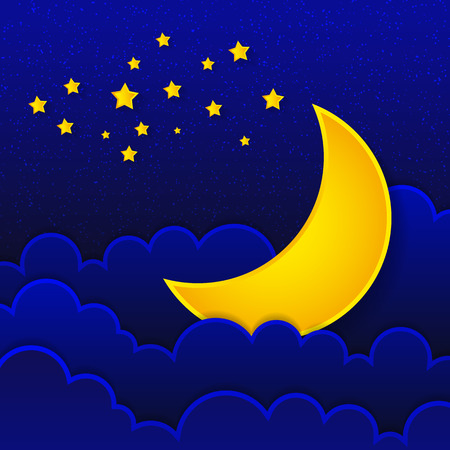 Retro illustration moon wishing good night. Çizim