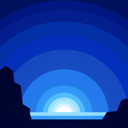 Vector illustration of North Pole in winter nature background.