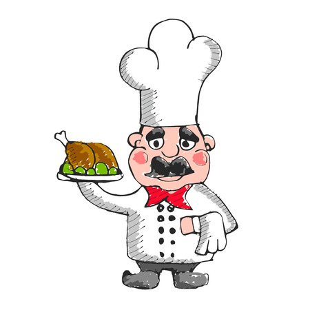 Simple cartoon male cook with chef hat. Cooking character icon or logo, vector illustration. Illustration