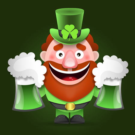Leprechaun with clover for good luck. dwarf vector for a party in honor of St. Patricks Day. Invitation to the pub.