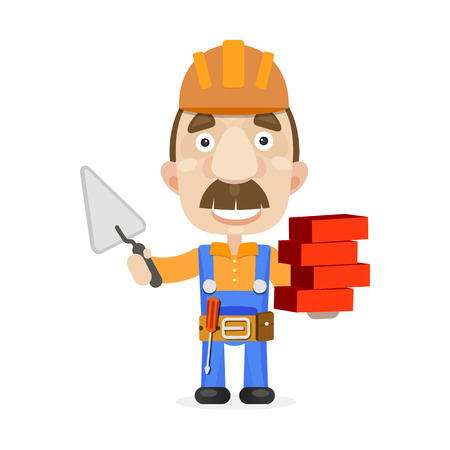 Construction worker vector illustration symbol building