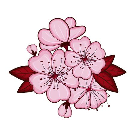 Cherry blossom flowers background. Sakura pink flowers background. Illustration