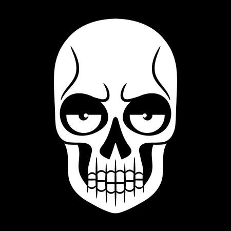 Vector black and white illustration of human skull with a lower jaw hand drawn style. Illustration