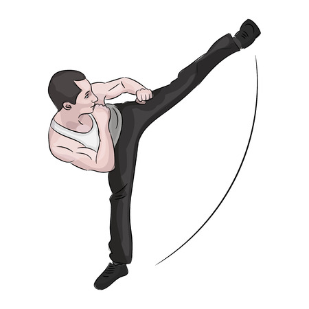 Silhouette of a karateka doing standing side kick .Vector graphics composed .Vector illustration