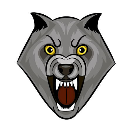Cartoon angry werewolf face on the white background. Ilustração