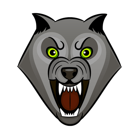 Cartoon angry werewolf face on the white background. Banco de Imagens - 98804517