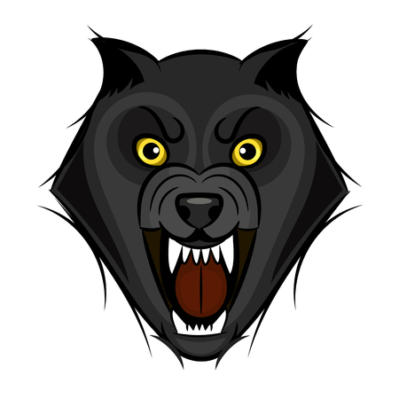 Cartoon angry werewolf face on the white background. Illustration