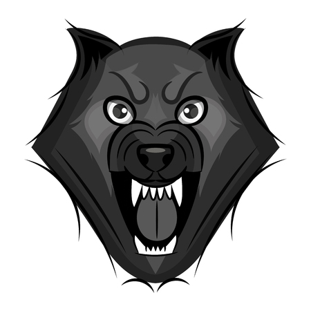 Cartoon angry werewolf face on the white background. Çizim