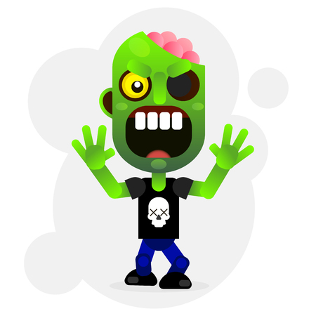 A Vector cartoon image of a funny green zombie with big head in pants  Vector illustration.