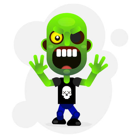 A Vector cartoon image of a funny green zombie with big head in pants .
