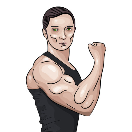 A Bodybuilder in front double biceps pose. Aesthetic bodybuilding. Illustration