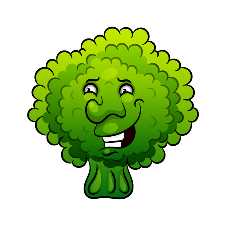 Artistic hand drawn broccoli illustration. Vegetable broccoli closeup isolated on a white background. Hand painting on paper