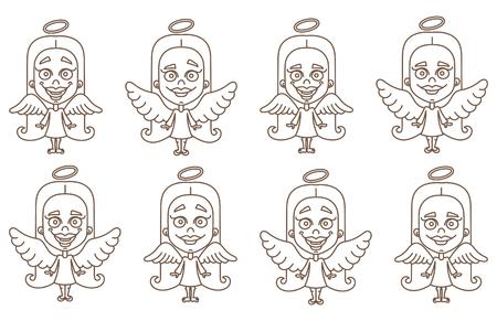 Little girl angel set vector illustration on white background Stock Illustratie