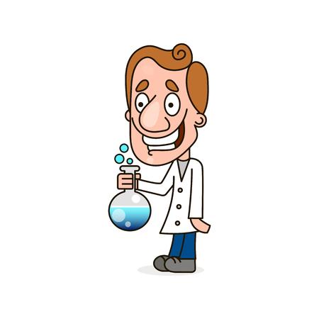 Scientist kid holding an exploding test tube Illustration