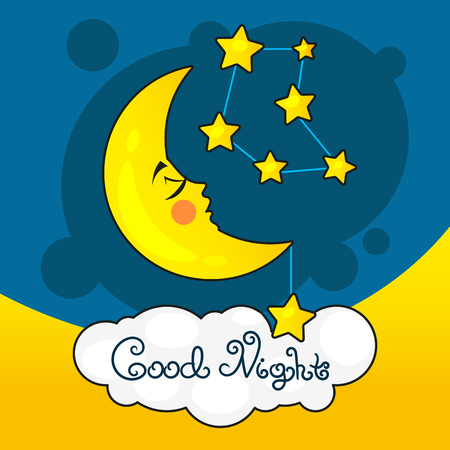 Goodnight card with moon and stars design. Vectores