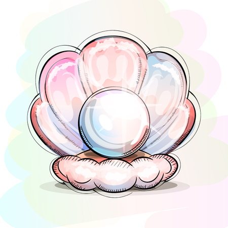 Pearl hand-drawn. Oyster on the ocean floor. Shimmers colors.Vector illustration.