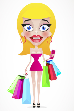 Happy girl with shopping bags in shop. Shopper. Sales. Funny cartoon character. Vector illustration. Isolated on white background