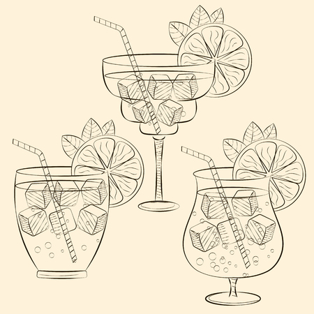 Alcoholic cocktail glass hand drawn sketch vector illustration. Alcohol drink in different glass isolated on white background. Vodka cocktail glass