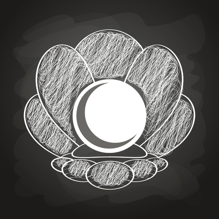 clam with pearl chalk painted on the chalkboard vector illustration
