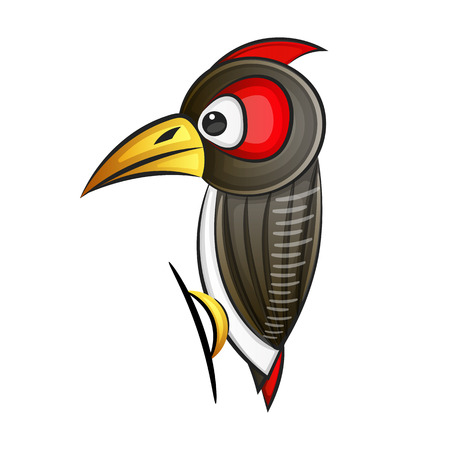 Woodpecker. Abstract woodpecker on white background. EPS 10. Vector illustration
