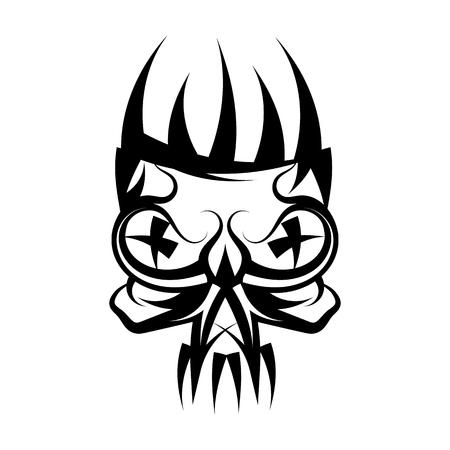 Skull with crown on head tattoo.Vector illustration Illustration