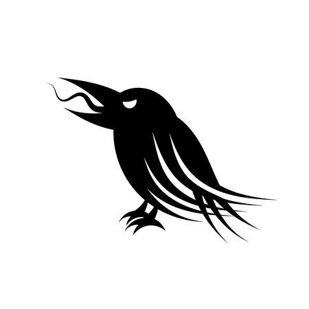 Black raven animal bird, hand-drawing. Vector illustration