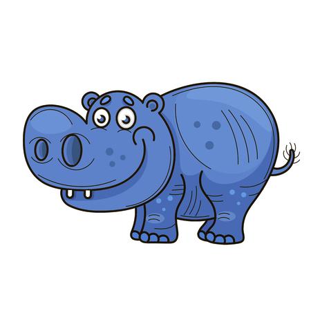 Mały hipopotam. Kreskówka. Niebieski wesoły zwierzę z kreskówek