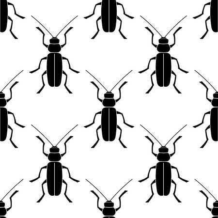 Geometric texture an animal print - a pattern from beetle. Insects are black on a white background.