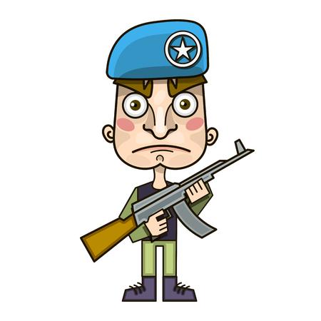 Soldier and rifle on his shoulder. Warrior with gun. Military man in beret. Machine-gun belt
