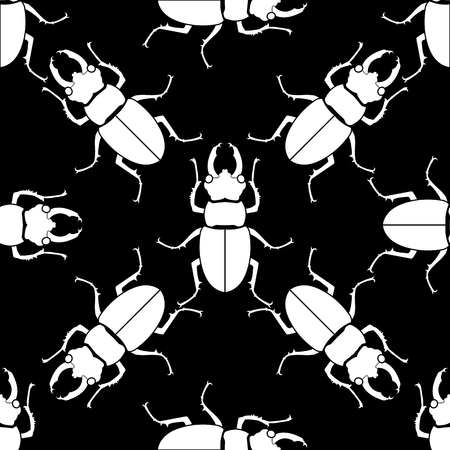 Pattern seamless. Insect background. Beetle ornament Vector illustration Çizim