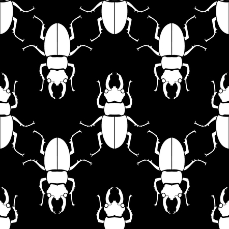 Pattern seamless. Insect background. Beetle ornament Vector illustration
