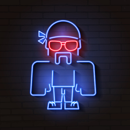 Neon bouncer with glasses vector illustration on brick background Stock Illustratie