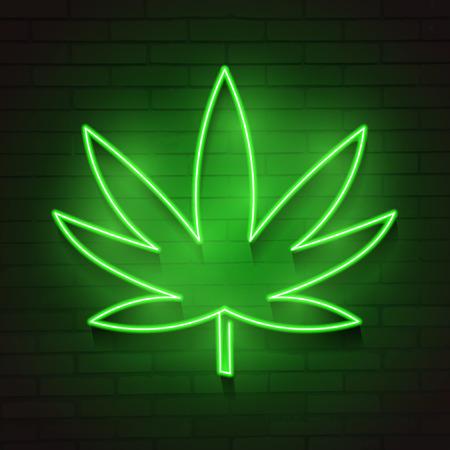 Medical Cannabis Logo with Marijuana Leaf Glowing Neon Light Style Green on Dark Brick Wall Background - Vector