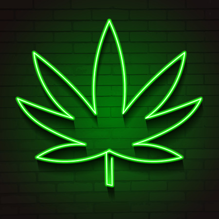 Medical Cannabis Logo with Marijuana Leaf Glowing Neon Light Style Green on Dark Brick Wall Background - Vector