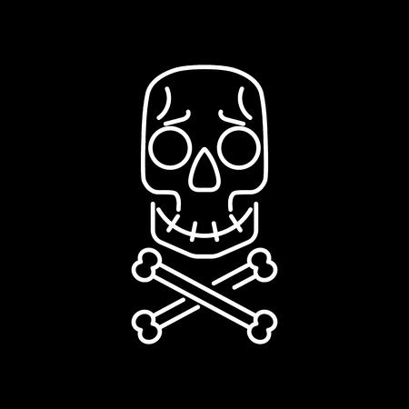 Skull and crossbones - vector illustration. Cartoon face