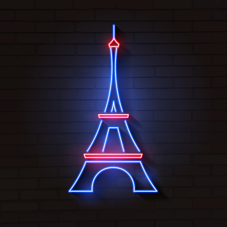 Eiffel tower in neon light on brick background