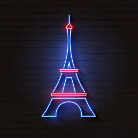 Eiffel tower in neon light on brick background