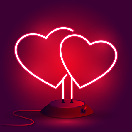 Bright hearts. Neon sign. Retro neon heart sign on background. Design element for Happy Valentine's Day. Vector illustration.