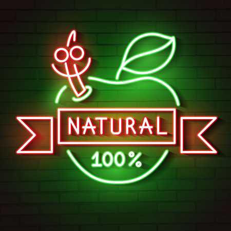 neon sign natural Apple glows in the dark vector illustration